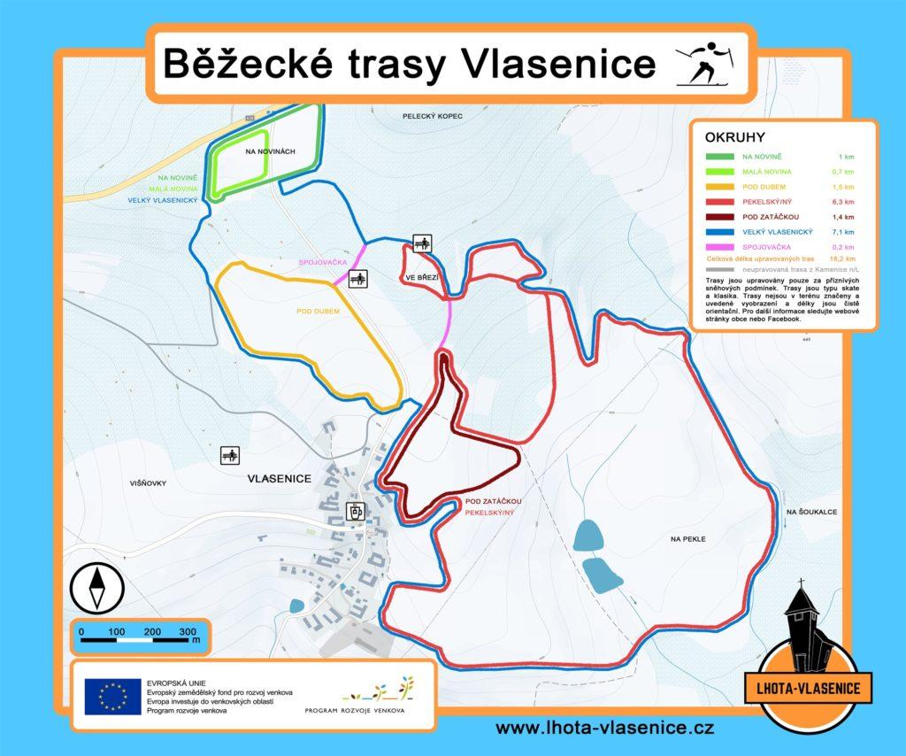 Plánek běžeckých tratí Vlásenice